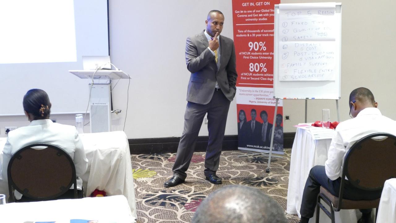 Professor Alaa Soliman, Senior Lecturer in the Leeds Business School, presenting