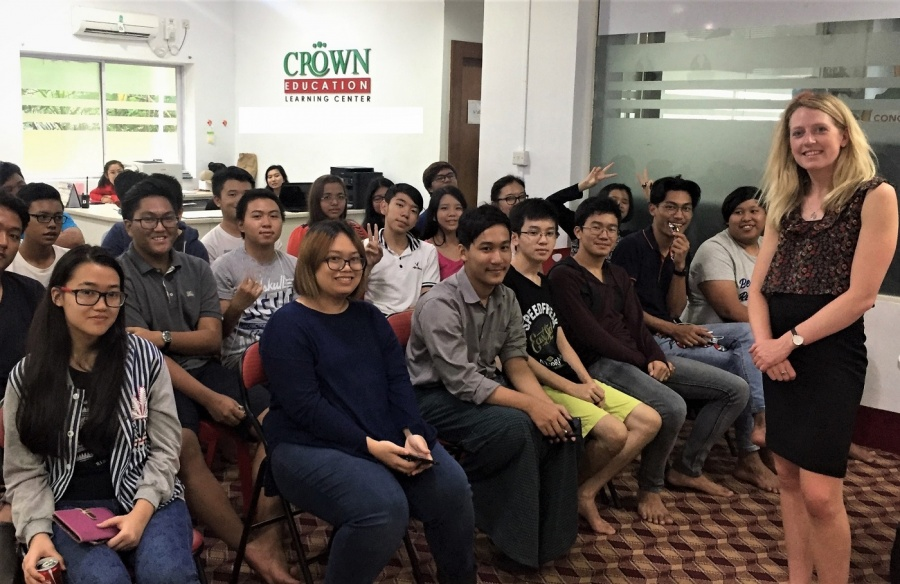 Amy Rose Cauley (NCUK) presenting in front of current students at Crown Education in Yangon