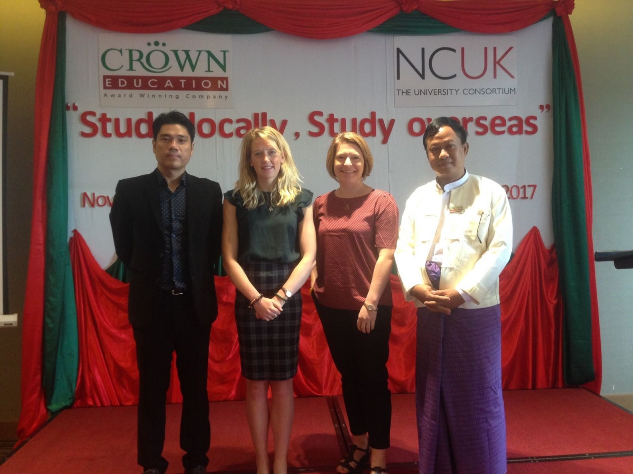 (Photo L to R: James U Aung Kyaw San, Managing Director, Crown Education; Amy-Rose Cauley, Market Development Manager, NCUK; Katy Christie, Regional Director NCUK; Dr. Khin Aung Than, Principal, Royal Academic Institute.)